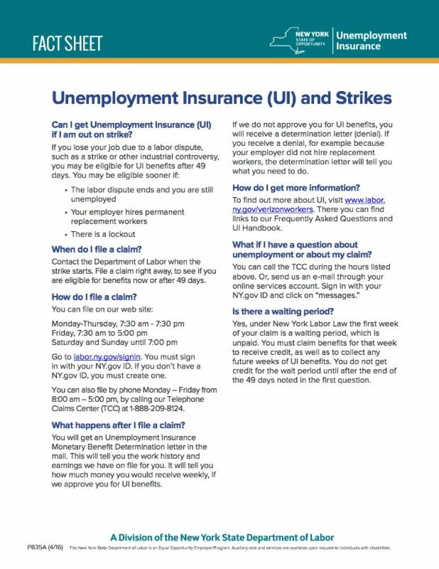 Unemployment Insurance Information for Verizon Workers | CWA 1104